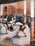 Traditional Japanese Wrestling: Sumo wrestlers displaying their art at the Japanese Exhibition in London in 1910 Fine Art Print by Candido Aragonez de Faria