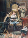 'Doddy and her Pets', c.1885 Wall Art & Canvas Prints by English School