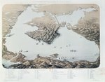 Panoramic view and plan of Sevastopol and the Black Sea Coast at the time of the Crimean War, 1855 Fine Art Print by English School