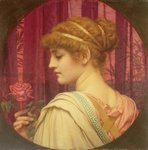 Girl with Red Rose Postcards, Greetings Cards, Art Prints, Canvas, Framed Pictures, T-shirts & Wall Art by Dante Gabriel Rossetti