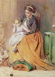 """Tick, Tick, Tick"" - a girl sitting on her mother's lap listening to her gold watch ticking, 1867 Poster Art Print by Daniel Clarke"