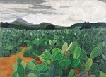 Patch of Prickly Pears on the Way to Tulancingo Fine Art Print by Pedro Diego Alvarado