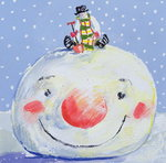 The Snowman's Head (gouache on paper) Wall Art & Canvas Prints by English School