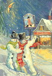 The Jolly Snowman (gouache) Wall Art & Canvas Prints by Thomas Bowles