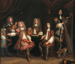 The Crimson Bedchamber, portrait group of gentlemen with musical instruments, traditionally said to depict the Cabal Ministry of King Charles II (oil on canvas) Postcards, Greetings Cards, Art Prints, Canvas, Framed Pictures, T-shirts & Wall Art by Max Ferguson