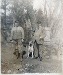 Serbian soldier with his father and pet dog, 1914-18 Fine Art Print by German Photographer