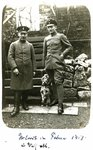 Austrian or Italian soldiers with a dog, February 1918 Fine Art Print by German Photographer