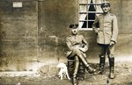 German soldiers with a dog, 1914-18 Poster Art Print by German Photographer