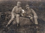 Austrian or Italian soldiers with a dog, 1914-18 Fine Art Print by German Photographer