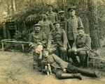 Group of German soldiers with a dog, 1914-18 Fine Art Print by German Photographer
