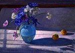 Anemones and a Blue Glass Vase, 1994 (oil on canvas) Fine Art Print by Sylvia Paul