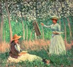 In the Woods at Giverny: Blanche Hoschede at her easel with Suzanne Hoschede reading, 1887 Postcards, Greetings Cards, Art Prints, Canvas, Framed Pictures & Wall Art by Claude Monet