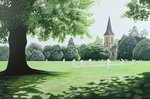 Cricket match, Southborough, Kent, 1998 Postcards, Greetings Cards, Art Prints, Canvas, Framed Pictures, T-shirts & Wall Art by English School