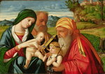 Holy Family with St. Simeon and John the Baptist, early 16th century Fine Art Print by Giovanni Bellini