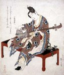 Chinese Beauty Playing the Shamisen, c.1833-34 Poster Art Print by Utagawa Toyokuni