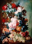 Flowers and Fruit (oil on panel) Wall Art & Canvas Prints by Albert Williams