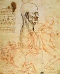 Torso of a Man in Profile, the Head Squared for Proportion, and Sketches of Two Horsemen, c.1490 and c.1504 Wall Art & Canvas Prints by Leonardo Da Vinci