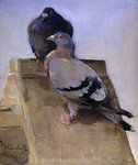 Pigeons on the Roof Fine Art Print by Jules Ernest Renoux
