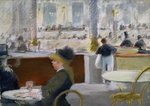 A Cafe, Place du Theatre Francais, c.1877-78 Wall Art & Canvas Prints by Gustave Caillebotte