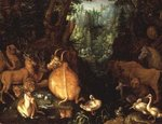 Animals and Birds in a Forest Landscape Fine Art Print by Johann Wenzel Peter