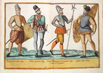 Sixteenth century costumes from 'Omnium Poene Gentium Imagines', published in Cologne, 1577 Fine Art Print by Dirck Hals