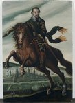 Portrait of Gustavus Adolphus II, King of Sweden, on horseback in the Battle of Stralsund, after 1630 Poster Art Print by German School