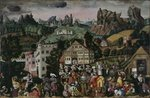 'Augsburger Monatsbilder': April, May, June, c.1531 Wall Art & Canvas Prints by Jacobus Schlachter