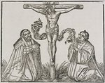 Martin Luther and Frederick III of Saxony kneeling before Christ on the Cross, 1532-1600 Fine Art Print by Martin Schongauer