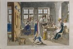 Children's pictures for entertainment and instruction, 1st book for girls, page 7: The Servant's Room, printed by Herzberg, Augsburg, 1823 Fine Art Print by Janet and Anne Johnstone