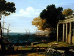 View of the Sea, Port and Amphitheatre of Pola Fine Art Print by Heinrich Maria von Hess