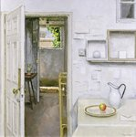 Open Doors with Still Life and Letter, 2004 (oil on canvas) Fine Art Print by Charles E. Hardaker