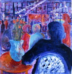 Night Cafe, 2008 (oil on canvas) Postcards, Greetings Cards, Art Prints, Canvas, Framed Pictures, T-shirts & Wall Art by Hilary Rosen