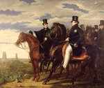 The Duke of Wellington describing the Field of Waterloo to King George IV Fine Art Print by French School