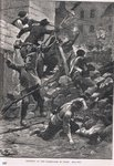 Fighting at the barricades in Paris, illustration from Cassell's 'Illustrated History of England', published c.1910 Fine Art Print by English School