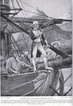 Captain Cook approaching New Zealand, illustration from 'Hutchinson's Story of the British Nation', c.1923 Fine Art Print by Oliver Frey