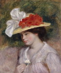 Woman in a Flowered Hat, 1889 Poster Art Print by Alfred George Stevens