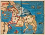 Asia in the shape of Pegasus, 1594 Postcards, Greetings Cards, Art Prints, Canvas, Framed Pictures, T-shirts & Wall Art by Guillaume Delisle