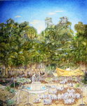 The Pensioner's Chess Tournament in the Botanic Garden, 2001 (oil on canvas) Fine Art Print by James Reeve