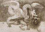 Fight between a Dragon and a Lion Fine Art Print by Anthony Southcombe