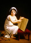 Child pointing at a drawing of cupid Fine Art Print by Carlo Bevilacqua