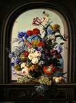 Still life of a niche with flowers Poster Art Print by Gasparo Lopez