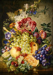 Still life with fruit and flowers Fine Art Print by George Lance