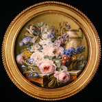 Still life with flowers in a basket Fine Art Print by Johann Baptist Drechsler