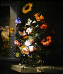 Still life with flowers and a landscape Poster Art Print by Gasparo Lopez