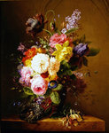 Still life of a vase of flowers and a nest Wall Art & Canvas Prints by Albert Williams