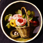 Still life with roses and a nest Fine Art Print by John Atkinson Grimshaw