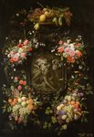 Garland of Fruit and Flowers with the Death of Adonis, 1652 Fine Art Print by Johann Baptist Drechsler