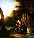 An amorous encounter between a hunter and a milkmaid in a landscape Wall Art & Canvas Prints by Jean-Baptiste Joseph Pater