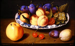 Still life of peaches and plums in a blue and white dish on a table top Wall Art & Canvas Prints by Gerard van Spaendonck