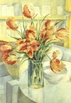 Artist's Tulips in the Drawing Room Fine Art Print by John Lidzey